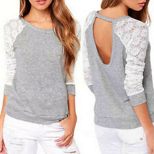 Fashion Women's Ladies Hollow Long Sleeve Tops Casual Loose Blouse Lace T-Shirt