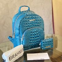 NWT Brahmin Mini Dartmouth Backpack Melbourne Leather+wallet Lagoon