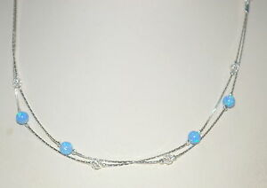 5mm Light Blue or White OPAL, Sterling Silver 925 MESH Beads Two Strands NEKLACE