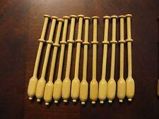 "12 Binche square style bobbin lace bobbins, wood, small 3 7/8"" that do not roll"