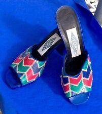 Vintage 1980's IVORY of BOND STREET BLUE, PINK AND GREEN (5.5) platform sandals