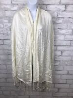 White Ladies 100% Viscose Soft Scarf Shawl Wrap With Fringe 71x22""