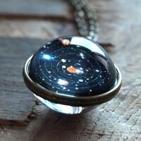 Unique Jewelry Double Sided Long Chain Planet  Pendant Solar System Necklace