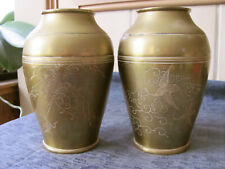 Pair Antique Vtg Chinese Japanese Oriental Brass Bronze Urns Vases Cranes Birds