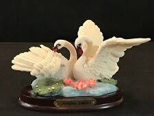 Montefiori Collection Swans Swan In A Pond Lillypads Wood Base Figurine