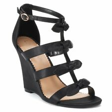 e06bfd834cc1 Women s Lauren Conrad Black Bow Decorate Wedges High Heel Shoes Size 9