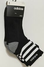 Adidas Men's Cushioned 6-Pair Quarter Crew Socks Black with Gray & White (2950)
