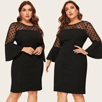 Stylish Women Plus Size O-Neck Flare Sleeve Polka Dot Mesh Patchwork Midi Dress