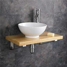 32cm Ceramic Round Bathroom Sink 60cm Wood Shelf Wall Hung Cloakroom Basin Set
