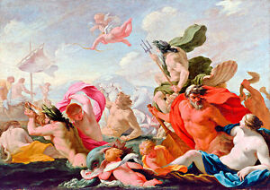 Marine Gods Paying Homage to Love A1 by Eustache Le Sueur Quality Canvas Print