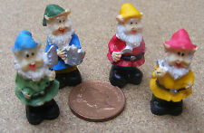 1:12th Set Of Four Assorted Gnomes Dolls House Miniature Garden Fairy Accessory