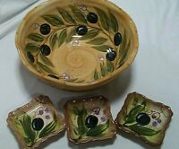 """TABLETOPS UNLIMITED PROVINCIAL OLIVES 11"""" Salad/Pasta Bowl and 3 Dipping Dishes"""