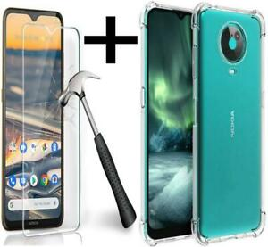 For Nokia G20 Case Slim Clear Shockproof Gel Phone Cover + Screen Tempered Glass