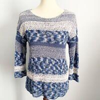 J Jill Woven Knit Sweater Mixed Media Women's Extra Small XS Blue