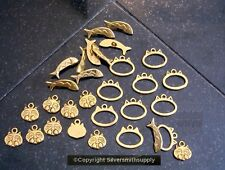 10 Cat fish antique gold plated no lead  toggle jewelry clasp 3pc sets fpc166c