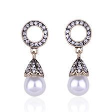 ZARA Gold Crystal Pearl Hoop Drop Earrings Deco 1920 Hollywood Glamour BRIDE