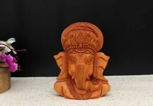 Wooden Hindu God Lord Ganesha Bust Sculpture Statue Temple Religious Figurine