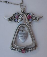 v Keep calm and trust your ANGEL BLESSINGS 3D CAR CHARM MIRROR ORNAMENT Ganz