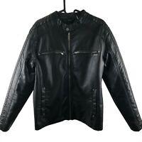 Guess Men's Black Leather Motorcycle Jacket Size Medium Bomber Style