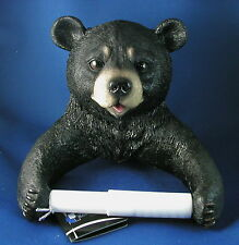 BLACK BEAR TOILET PAPER HOLDER New Resin Bathroom Wall Mount Cub Wildlife LE NIB