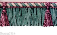 Teal GREEN Burgundy Drapery Drape Tassel Fringe Bullion Rope Wall paper Border