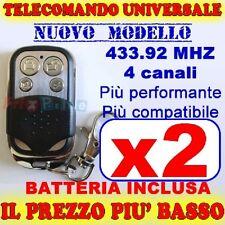 MHZ TELECOMANDO UNIVERSALE 433 2 CANCELLO GARAGE PER FAAC CAME FADINI jn