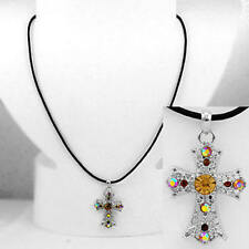 Cross Topaz Brown Rhinestone Religious Black Cord Fashion Jewelry Necklace 186-C
