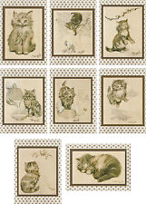 Vintage Oliver Herford The Kitten's Garden of Verses cards tags ATC 8 envelopes