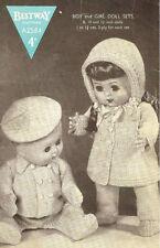 """VINTAGE  KNITTING PATTERN  COPY - PRAM SET -  8/10/12"""" BOY & GIRL DOLLS - 1940's"""