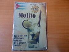PLAQUES TOLEE vintage 20 X 30 cm : MOJITO Cuba