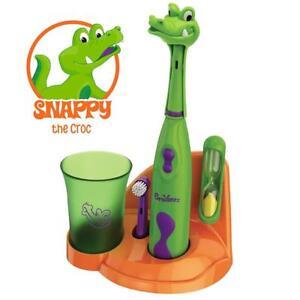 Kids Toothbrush Set Electronic Toddler Animal Crocodile Timer Boy Girl Gift NEW