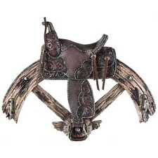 Wheel & Saddle Wall Plaque with 2-Hooks Western home or lodge log cabin decor