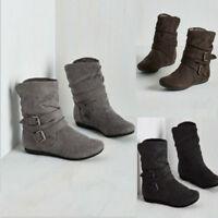 Chaussures d'hiver plates pour femmes bottines décontractées Buckle Warm Shoes