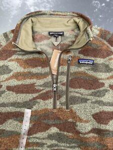 Patagonia Mens Medium Bear Witness Camo Sage Khaki Better Sweater 1/4 Zip Fleece