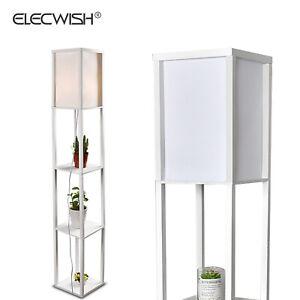 LED Shelf Floor Lamp Lighting Storage Shelves Home Living Room Bedroom White