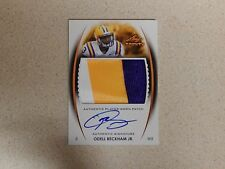 Odell Beckham Giants/LSU 2014 Trinity Rookie 3 Color Patch On Card Auto