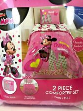 Minnie Mouse BEING FABULOUS Reversible Twin/Full Comforter Pillow Case Sham Set