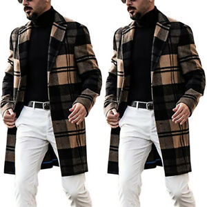 Mens Long Sleeve Stylish Plaid Trench Coat Outwear Overcoat Long Blazer Jacket,