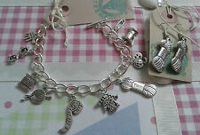 HAND MADE Knitting Inspired Silver Charm Bracelet & Matching Wool Yarn Earrings