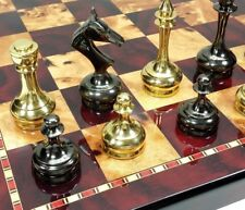 "REAL BRASS METAL GOLD & BLACK CHROME STAUNTON Chess Set W 18"" Cherry Color Board"