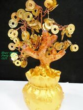 GOLD Golden Japanese Feng Shui Lucky Chinese Bonsai Money Bag Pot Coin Tree