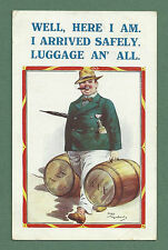 1932 CHAS MEADOWS PC MAN CARRYING TWO LARGE BRANDY BARRELS - ARRIVED SAFELY