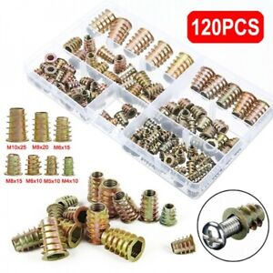 120PCS THREADED WOOD INSERT NUTS M4 M5 M6 M8 M10 HEX DRIVE SCREW FIXINGS TYPE D