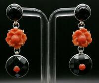 Orecchini da donna corallo agata nera argento 925 pendenti GIOIELLO ITALIANO