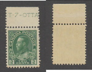 MNH Canada 2c Yellow Green KGV Admiral Stamp, Wet Printing #107 (Lot #19965)