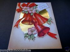 #J644- Vintage 1940's Die Cut Xmas Greeting Card Holiday Bells & Gold Foil