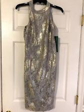 SCARLETT TAUPE SILVER METALLIC LACE HALTER SHEATH DRESS WOMEN'S SZ 8 NWT