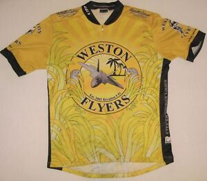 Louis Garneau Short Sleeve Yellow Bike Cycling Jersey 3 /4 Zip Sz M Fighter Jet