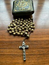 More details for vintage / antique rosary beads in leather pouch