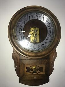 """Antique """"Walnut"""" Drop Dial Wall Clock, New Haven USA, 8 day wind."""